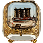 Antique French Eglomise Grand Tour Souvenir Jewelry Box, Casket, Thick Glass, BASTILLE View