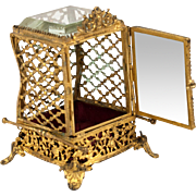 Antique French Ormolu & Glass Pocket Watch Holder is a Miniature Sedan Chair Vitrine, c. 1880s