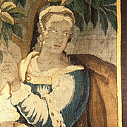 "Antique French or Flemish c. 1600s Verdure Woven Tapestry Fragment, Figural 36"" x 24"" Panel, Aubusson, Gobelin"