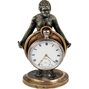Antique French Blackamoor Figure, Figural Pocket Watch Stand, c.1830-60