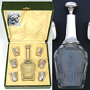 Antique French Sterling Silver & Intaglio Etched Glass 7pc Liqueur Set, Decanter & Six Cups in Orig. Box