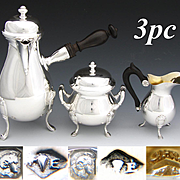 Lovely Antique French Sterling Silver 3pc Solitaire or Tete-a-Tete Sized Coffee or Tea Set, Pristine!
