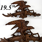 "Fine Antique Black Forest Carved Wood Crop Hook or Hat Rack, Eagle and Rabbit, 19.5"" Long"