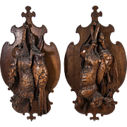 """Superb Large Pair of Antique Black Forest Fruits of the Hunt Plaques, Fox, Hare, Birds, 28"""" Long."""