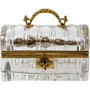 Fine Antique French Baccarat Sugar Casket, Box, Crystal & Dore Bronze, Charles X