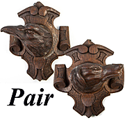 Pair (2) Hand Carved Antique Black Forest Plaques, Dog, Hound and Eagle, Tie-backs?