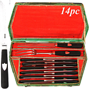 RARE Complete c. 1820 French 14pc Table Knife Set, Dinner Knives & 2 Serving Pieces; Ebony & Silver Handles, Orig. Shaped Box