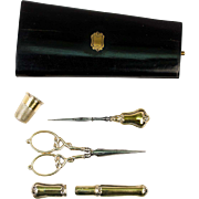 Antique French Sewing Etui, Set: 18k Gold Vermeil on .800/1000 Sterling Silver, c.1870