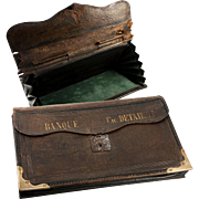"""Antique 14"""" French Leather Pleated Bank Pouch or Folio, c.1850s, Brass Trim, """"Banque Ch. Detaille"""""""