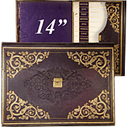 """Superb Antique French Gold Embossed Leather 14"""" Folio, Briefcase, Stationery or Art Folder"""