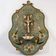 Antique French Needlepoint & Silk Embroidery Plaque with Holy Font, Mother of Pearl