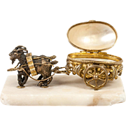 Antique French Palais Royal Goat Carriage, Mother of Pearl Thimble or Ring Box, Holder