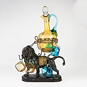 Antique French Art Glass Liqueur Service with Lion Stand, Like Blackamoor, Napoleon III