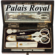 Fine Antique French Palais Royal Mother of Pearl & 18k Gold Sewing Set, Thimble, Scissors, Needle Case, Stiletto, Etui