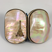 Antique French Mother of Pearl Coin Purse, Souvenir of Paris, Sterling Silver Eiffel Tower, c.1889 Expo