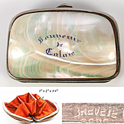 Antique French Mother of Pearl Coin Purse, Souvenir of Calais, France, VG Condition