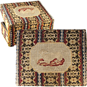 Antique French Needlepoint Petitpoint Jewelry or Sewing Casket, Box, c.1750-1800, Dog, Hound