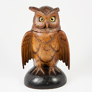 Antique Hand Carved Black Forest Owl Match Holder, Toothpick, Inkwell or Open Salt, Glass Eyes, c. 1915 #2