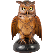 Antique Hand Carved Black Forest Owl Match Holder, Toothpick, Inkwell or Open Salt, Glass Eyes, c. 1915 #2