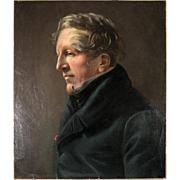 """Antique French Oil Painting, Portrait of a Man, Empire Era, no Frame,  23"""" x 19"""" Linen Canvas on Stetcher"""