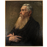 "Antique French Oil Painting, Portrait of a Man, c.1910, Artist: Edmee BELVAL, no Frame, 25.5"" x 21.25"""