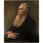 """Antique French Oil Painting, Portrait of a Man, c.1910, Artist: Edmee BELVAL, no Frame, 25.5"""" x 21.25"""""""
