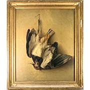 RARE Large Antique Oil Painting on Board: Trompe L'oeil Hunt Scene, Bird, in Frame, Artist Signed