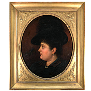 Antique French Oil Painting, Portrait of a Woman, c.1840s, Unsigned, Fine Frame, Jewelry & Hat
