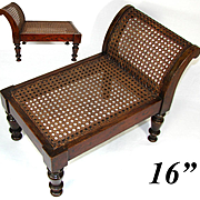 "Rare Antique Victorian Bru Doll Sized 16"" Miniature Rosewood & Cane Chaise Longue, Chair"