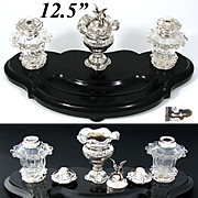 "Rare Fine Antique Dutch Sterling Silver, Cut Crystal & 12.5"" Black Marble Inkwell with Sander, Falcon Figure"