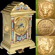 "Superb Antique French Champleve Enamel 12"" Mantel Clock, 1889 Samuel Marti Movement, Made for Benetfink & Co., London"