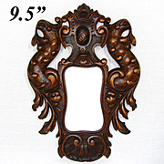 Fab Antique Victorian Era Carved Wood Carte de Visite Size Picture Frame, Bird Figures
