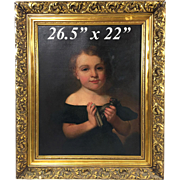 "Exquisite Antique 18th-19th C. Oil Painting on Canvas, Child with Sphinx or Cat Sculpture, 26.5"" Gilt Gesso & Wood Frame"