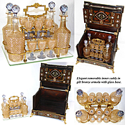 Additional images for 117rtant, Antique French Napoleon III Liqueur Tantalus, Figural Boulle Style Inlay