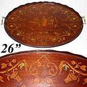 "Gorgeous Antique European 26"" Tea or Serving Tray, Ornate Figural Inlay"