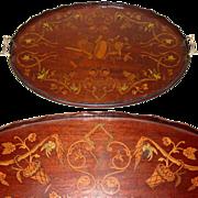 "Gorgeous Antique European 26"" Tea or Serving Tray, Ornate Figural Inlay"