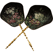 Antique French Victorian Era Face Screen Pair (2) Hand Painted Silk, Artist Signature