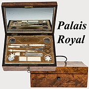 Antique c. 1700s French Sewing Box, Implements with 18k Gold, Palais Royal Set, Thimble, Scissors, Needle Case, Crochet Tambour, etc.,