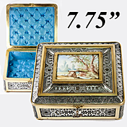 RARE Antique Vienna Secessionist Jewelry Casket, Box, Kiln-fired Enamel, Bronze, Silver Plate Work of ART!