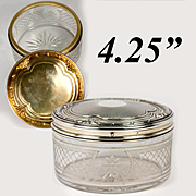 "Superb Large Antique French Sterling Silver & 18K Gold Vermeil 4.5"" Powder Jar, Dressing Table Box"