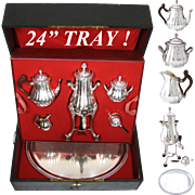 RARE Antique French c.1905 Complete Sterling Silver Tea Pot Service, Tray, Samovar, Original Fitted Chest, HUGE!