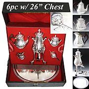 ADDITIONAL IMAGES FOR Antique French c.1905 Complete Sterling Silver Tea Pot Service, Tray, Samovar, Original Fitted Chest, HUGE!