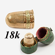 Antique 18k Gold French Thimble in Original c.1830 Shagreen or Galuchat Etui, Case