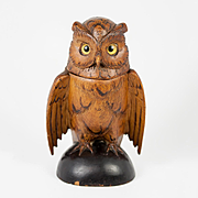 Antique Hand Carved Black Forest Owl Match Holder, Toothpick, Inkwell or Open Salt, Glass Eyes, c. 1915 #3