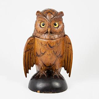 Antique Hand Carved Black Forest Owl Match Holder, Toothpick, Inkwell or Open Salt, Glass Eyes, c. 1915 #3