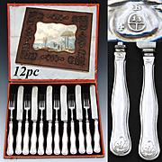 Elegant Antique Austrian Sterling Silver 12pc Dessert Knife & Fork Set, Fabulous Original Box