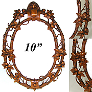 """Ornate Antique French Black Forest Style Carved 10"""" Picture Frame, Vines & Foliage"""