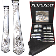 Rare Antique French PUIFORCAT Sterling Silver 24pc Table Knife Set, Ornate Foliate Pattern, Interlaced Monograms