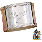 "Elegant Antique Continental .800 (nearly sterling) Silver Napkin Ring with ""Eliane"" Engraving or Dedication"