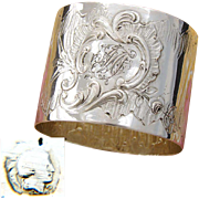 "Antique French .800 (nearly sterling) Silver Napkin Ring, Ornate Louis XVI or Rococo Pattern, ""FM"" Monogram"